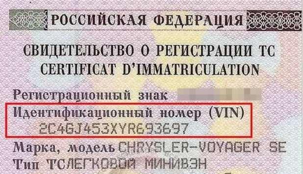 vin номер машины